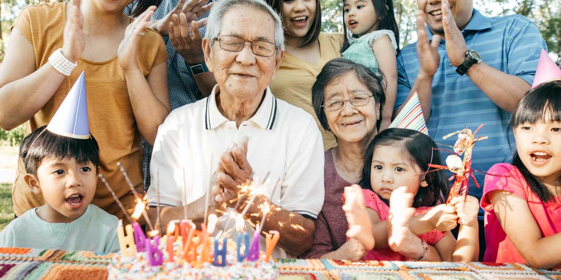 Asian family of kids, parents and grand parents