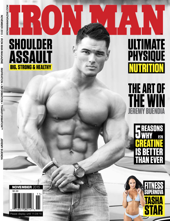 cover of Ironman magazine with shirtless, hairless, young asian man with big muscles