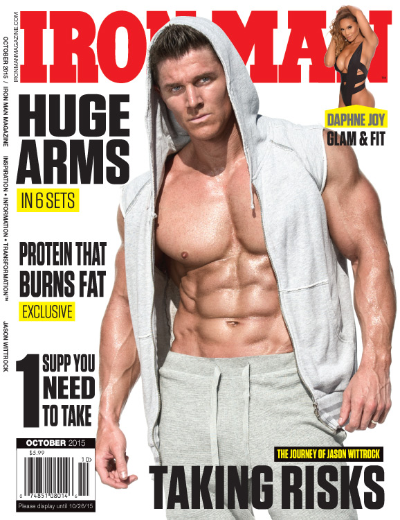 cover of October 2015 Ironman magazine with muscleman in open shirt