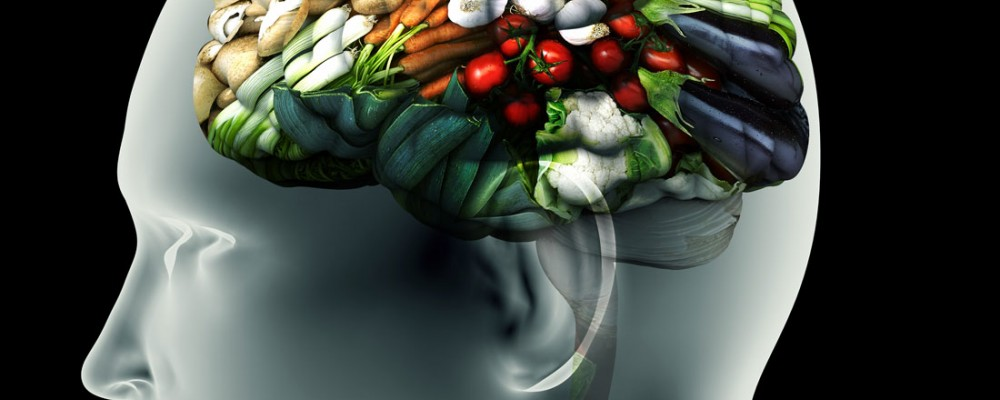 X-Ray photo of the human brain but instead of the brain it is an image of veggies and healthy foods